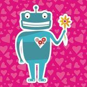 Valentine robot — Stock Vector