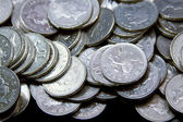 Silver British coinage — Stock Photo