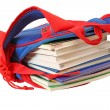 School bag with books - Stok fotoğraf