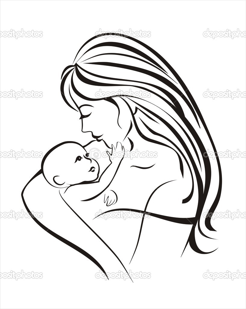 Mother and child, vector sketch in black lines  — Stock Vector #4614080