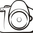 Photo camera symbol in outlines — Stock vektor