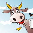 Funny cow with milk bucket — Stock Vector