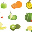 Fruits isolated cartoon collection — Stock Vector #4646762