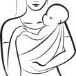 Mother and child in sling concept — Stock Vector