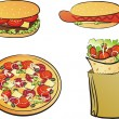 Stock Vector: Set of fast food products