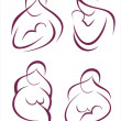 Set of symbols mother and child part2 - Imagen vectorial