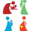 Set of mother and child icons — Stock Vector