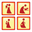 Glossy icons of mother and child - Stock Vector