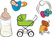 Baby products set, carriage, stroller — Stock Vector