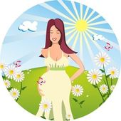 Young pregnant woman — Stock Vector