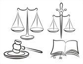 Justitie concept set symbolen — Stockvector