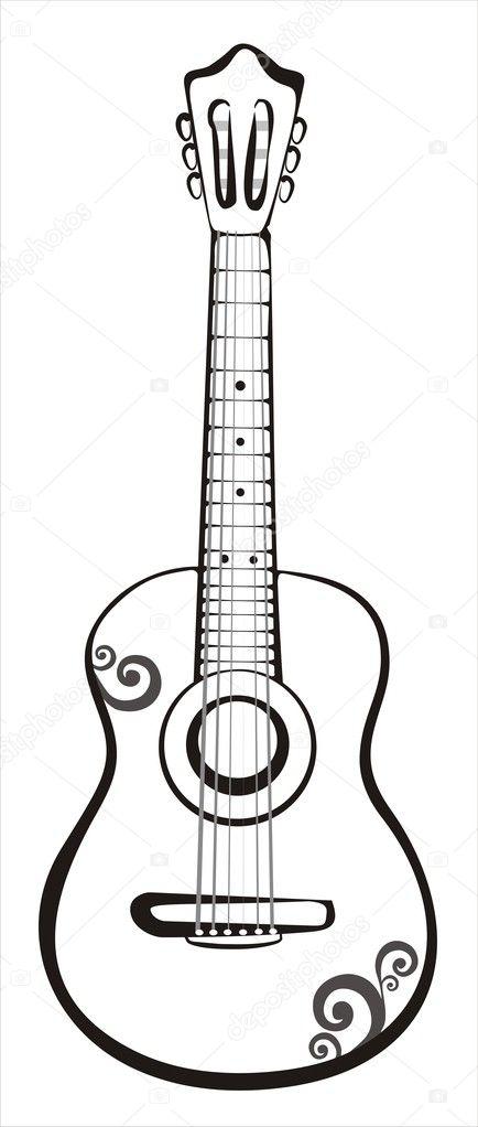 classic guitar sketch stock vector baldyrgan 4644700. Black Bedroom Furniture Sets. Home Design Ideas