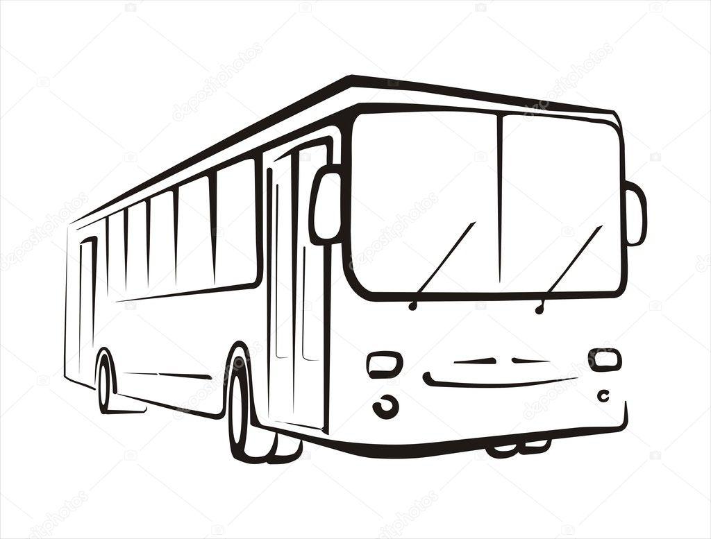 Рисунок автобус белый