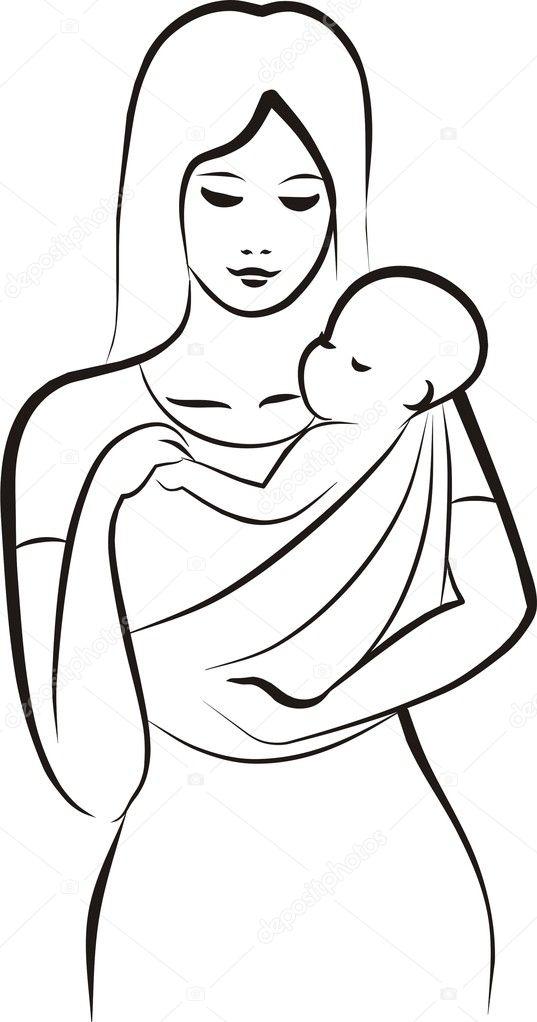 Женщина с ребёнком рисунок карандашом