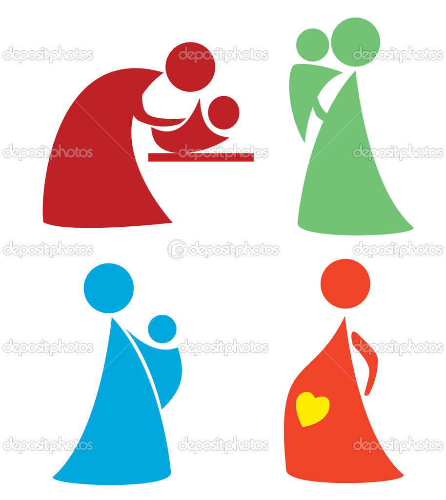 Set of mother and child icons - Stock Illustration