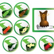 Set of trash icons and signs for recycling isolated vector - Stock Vector