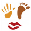 Foot, hand and lips print ccollection — Stockvectorbeeld