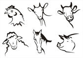 Farm animals collection of symbols — Vector de stock