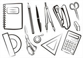 Stationery, school goods set — Stock Vector