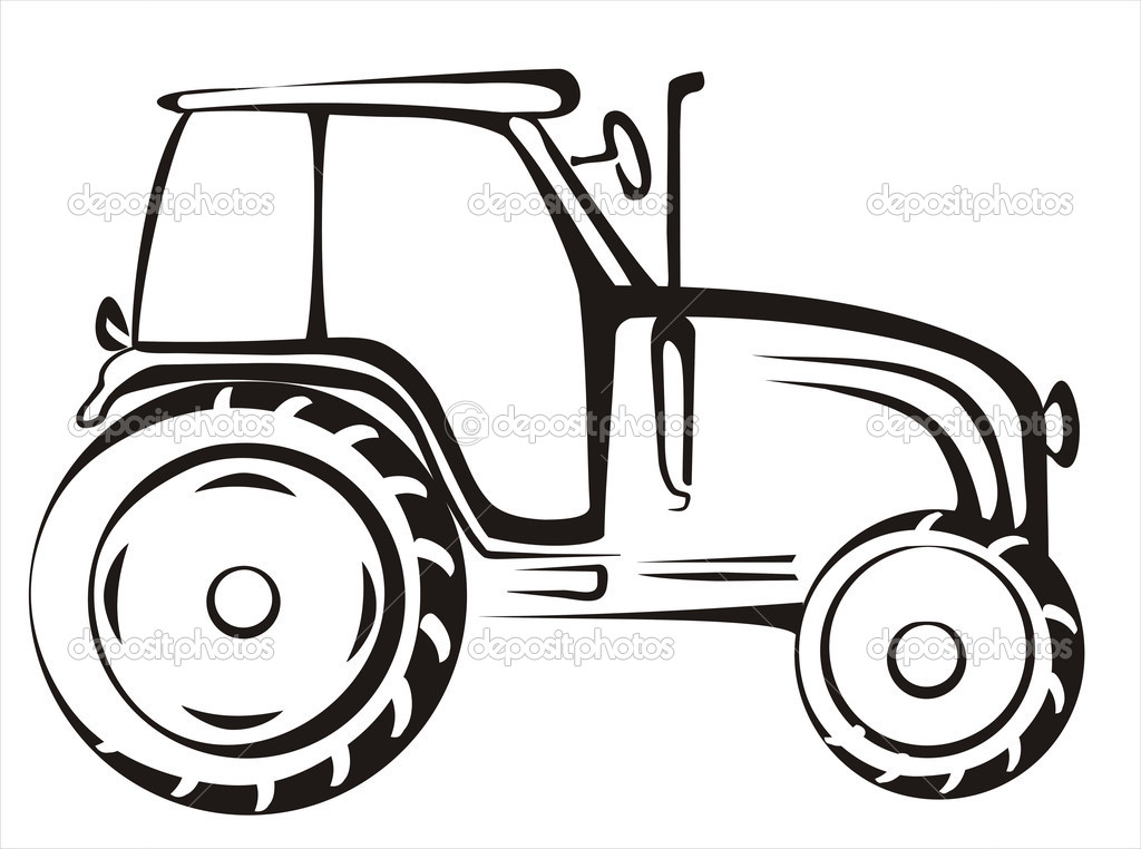 Line Drawing Tractor : Tractor symbol — stock vector baldyrgan