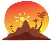 Tropical island sunset — Stock Vector