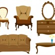 Stock Vector: Furniture collection isolated illustration