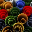 Close up of stack of color paper pipes — Stock Photo