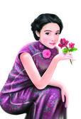 Donna cinese-disegno di mano 053 — Foto Stock