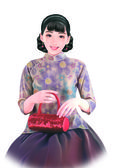 Hand drawing- chinese woman 007 — Stock Photo