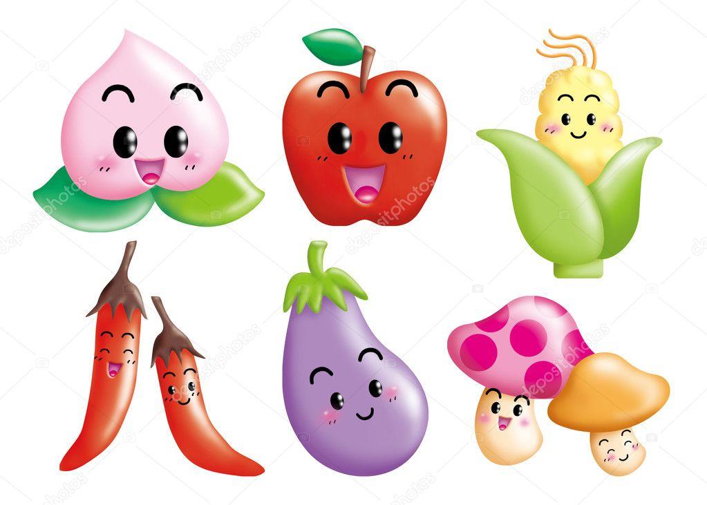 可爱卡通设计元素设置-水果, 蔬菜– 图库图片