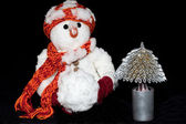 Russian New Year's Eve Snowman — Stock Photo