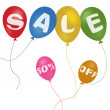 Colorful balloons and discount sale with clipping path — Stock Photo