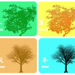 Stock Photo: Four season colorful background