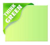 Green corner ribbon with think green — Stock Photo
