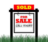 Real Estate home for sale sign — Stock Photo