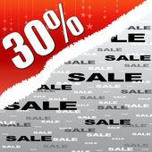 Treinta por ciento de descuento y venta cartel de ilustración — Foto de Stock