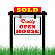 Realty open house sold sign — Stock Photo