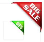 Big sale sign and discount ribbon — Stock Photo