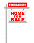 Real Estate home for sale sign, foreclosed — Stock Photo
