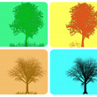 Stock Photo: four season colorful background with different actions