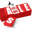 Stock Photo: Sale and twenty-five percent off sign brick