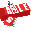 Sale and twenty-five percent off sign brick — Stock Photo