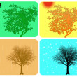 Four season colorful background with different actions — Stock Photo