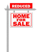 Real Estate home for sale sign, price reduced — Stock Photo
