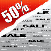 Fifty percent discount and sale illustration poster — Stock Photo