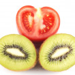 Isolated kiwi and tomato — Stock Photo