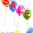 Colorful balloons and discount sale — Stock Photo