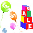 Sale brick and balloons — Stock fotografie
