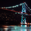 Night scene of Lions Gate Suspension Bridge Gateway — Stock Photo