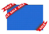 Red corner ribbon with sale sign on blue background — Stock fotografie